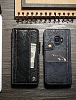 Недорогие -CaseMe Кейс для Назначение SSamsung Galaxy S9 Plus Кошелек / Бумажник для карт / со стендом Чехол Однотонный Твердый Кожа PU для S9 Plus