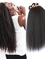 Недорогие -3 Связки Бразильские волосы Вытянутые 8A Натуральные волосы Необработанные натуральные волосы Подарки Косплей Костюмы Головные уборы 8-28 дюймовый Естественный цвет Ткет человеческих волос