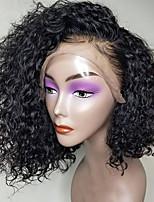 Недорогие -человеческие волосы Remy 360 Лобовой Парик Бразильские волосы Кудрявый Парик Ассиметричная стрижка 150% Плотность волос Для вечеринок Классический Удобный 100% девственница Нейтральный Жен. Короткие
