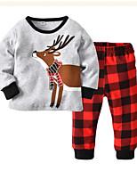 Недорогие -Дети (1-4 лет) Мальчики Классический С принтом / Мультипликация Длинный рукав Хлопок Набор одежды Серый