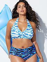 abordables -Femme Bleu Ciel Slip Brésilien Bikinis Maillots de Bain - Géométrique Imprimé XXL XXXL XXXXL