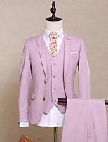 billiga -Enfärgad Skräddarsydd passform Polyester Kostym - Trubbig Singelknäppt Två knappar