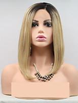 Недорогие -Синтетические кружевные передние парики Жен. Естественные прямые Золотистый Стрижка каскад 130% Человека Плотность волос Искусственные волосы 24 дюймовый Женский Золотистый Парик Короткие