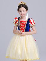 abordables -Princesse Costume de Cosplay Fille Enfant Actif Noël Halloween Carnaval Fête / Célébration Soie Organza Tenue Jaune Couleur Pleine