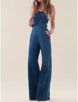 Недорогие -Жен. Повседневные Классический Синий Комбинезоны, Однотонный M L XL Без рукавов