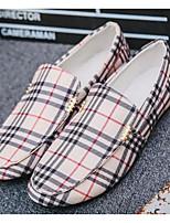 Недорогие -Муж. Комфортная обувь Полотно Весна & осень Мокасины и Свитер Белый / Черный / Серый