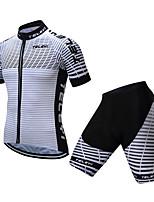 Недорогие -TELEYI С короткими рукавами Велокофты и велошорты - Черный / Белый Велоспорт Быстровысыхающий Зебра / Эластичная