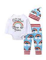 billiga -Bebis Flickor Grundläggande Dagligen Enfärgad Långärmad Normal Normal Polyester Klädesset Regnbåge 100 / Småbarn