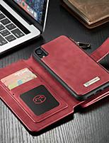 Недорогие -CaseMe Кейс для Назначение Apple iPhone XR Кошелек / Бумажник для карт / со стендом Чехол Однотонный Твердый Кожа PU для iPhone XR