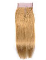 Недорогие -Laflare Бразильские волосы 4x4 Закрытие Прямой Средняя часть Средняя часть Швейцарское кружево человеческие волосы Remy Жен. Мягкость / Лучшее качество / Новое поступление