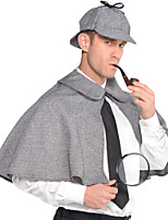 abordables -Sherlock Holmes Manteau Cosplay de Film Gris Manteau Chapeau Noël Halloween Nouvel an Polyester