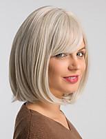 Недорогие -Парики из искусственных волос Жен. Естественный прямой Белый Стрижка боб Искусственные волосы 12 дюймовый Модный дизайн / Классический / Новое поступление Белый Парик Средняя длина Без шапочки-основы