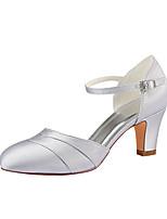 abordables -Femme Satin Printemps été Chaussures de mariage Talon Bottier Bout rond Boucle Argent / Mariage / Soirée & Evénement