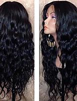 Недорогие -Натуральные волосы Лента спереди Парик Средняя часть стиль Бразильские волосы Волнистый Черный Парик 130% Плотность волос с детскими волосами Природные волосы Для темнокожих женщин 100