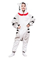 baratos -Pijamas Kigurumi Gato Pijamas Macacão Lã Polar Cinzento Cosplay Para Meninos e meninas Pijamas Animais desenho animado Festival / Celebração Fantasias
