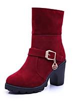 Недорогие -Жен. Полиуретан Наступила зима На каждый день Ботинки На толстом каблуке Круглый носок Сапоги до середины икры Черный / Вино