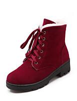 Недорогие -Жен. Замша Наступила зима Милая / Английский Ботинки На низком каблуке Круглый носок Ботинки Черный / Желтый / Красный