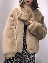 Недорогие -Жен. Повседневные Уличный стиль Обычная Пальто, Однотонный Воротник-стойка Длинный рукав Полиэстер Черный / Бежевый / Верблюжий Один размер