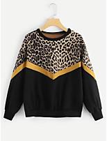 Недорогие -женская толстовка с длинным рукавом - леопардовый шею черный с