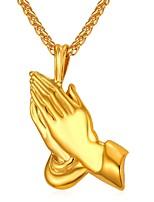 baratos -Homens Clássico Colares com Pendentes - Aço Inoxidável Oração Clássico Preto, Prata, Azul 55 cm Colar Jóias 1pç Para Presente, Diário