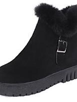 Недорогие -Жен. Полиуретан Зима На каждый день Ботинки На низком каблуке Сапоги до середины икры Черный / Серый
