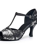 Недорогие -Жен. Обувь для латины Овчина На каблуках Блеск Кубинский каблук Персонализируемая Танцевальная обувь Черный
