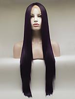 Недорогие -Синтетические кружевные передние парики Жен. Прямой Фиолетовый Свободная часть 180% Человека Плотность волос Искусственные волосы 18-26 дюймовый Регулируется / Кружева / Жаропрочная Фиолетовый Парик