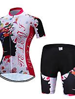 Недорогие -TELEYI С короткими рукавами Велокофты и велошорты - Red and White Велоспорт Дышащий, Быстровысыхающий Цветочные / ботанический / Эластичная