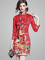 Недорогие -Жен. Шинуазери (китайский стиль) Оболочка Платье - Цветочный принт, Вышивка Завышенная Воротник-стойка Выше колена
