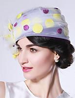 Недорогие -Чудесная миссис Мейзел Колпак шляпа шляпа Дамы Ретро Жен. Белый С принтом Конструкция САР органза костюмы