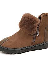 Недорогие -Жен. Замша Наступила зима Ботинки На плоской подошве Круглый носок Черный / Серый / Хаки