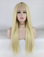 Недорогие -Синтетические кружевные передние парики Жен. Прямой Золотистый Средняя часть 180% Человека Плотность волос Искусственные волосы 18-26 дюймовый Регулируется / Кружева / Жаропрочная Золотистый Парик