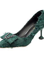 Недорогие -Жен. Полиуретан Зима Обувь на каблуках На каблуке-рюмочке Заостренный носок Черный / Зеленый