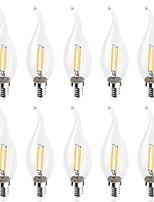 Недорогие -10 шт. 2 W 160-180 lm E14 LED лампы накаливания C35L 2 Светодиодные бусины COB Декоративная Тёплый белый / Холодный белый 220-240 V
