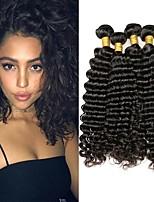 Недорогие -4 Связки Малазийские волосы Волнистые 8A Натуральные волосы Необработанные натуральные волосы Подарки Косплей Костюмы Головные уборы 8-28 дюймовый Естественный цвет Ткет человеческих волос
