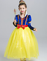 abordables -Princesse Costume de Cosplay Fille Enfant Robes Maille Noël Halloween Carnaval Fête / Célébration Tulle Dentelle Tenue Jaune Dentelle