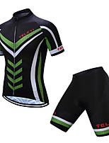 Недорогие -TELEYI С короткими рукавами Велокофты и велошорты - Черный / зеленый Велоспорт Дышащий, Быстровысыхающий Однотонный / Эластичная