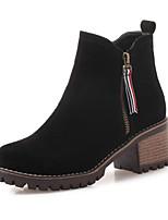 Недорогие -Жен. Микроволокно Зима Ботинки На толстом каблуке Ботинки Черный / Зеленый