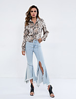 baratos -Mulheres Camiseta Moda de Rua Leopardo
