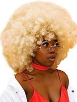 baratos -Perucas sintéticas Mulheres Afro Dourado Com Franjas Cabelo Sintético 8 polegada Novo Design / Vestir fácil / Para Mulheres Negras Dourado Peruca Curto Sem Touca Loiro