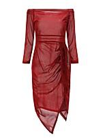 baratos -Mulheres Elegante Bainha / balanço Vestido - Franzido, Sólido Assimétrico