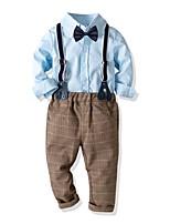 Недорогие -Дети Мальчики Классический С принтом Длинный рукав Хлопок Набор одежды Синий