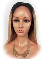 Недорогие -Не подвергавшиеся окрашиванию человеческие волосы Remy Полностью ленточные Парик Бразильские волосы Естественный прямой Шелковисто-прямые Светло-коричневый Парик / Природные волосы
