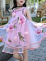baratos -Infantil Para Meninas Doce / Moda de Rua Diário / Para Noite Floral / Retalhos Estampado Sem Manga Poliéster Vestido Rosa