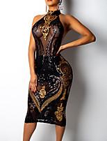 Недорогие -Жен. Классический Оболочка Платье - Однотонный, Пайетки / Сетка Средней длины