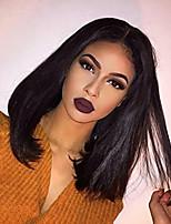 Недорогие -человеческие волосы Remy Полностью ленточные Лента спереди Парик Бразильские волосы Естественный прямой Шелковисто-прямые Черный Парик Ассиметричная стрижка 130% 150% 180% Плотность волос