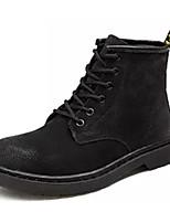 Недорогие -Жен. Свиная кожа Зима Ботинки На толстом каблуке Ботинки Черный / Серый