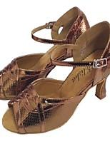 """Недорогие -Жен. Обувь для латины Синтетика На каблуках Каблук """"Клеш"""" Танцевальная обувь Бронзовый"""
