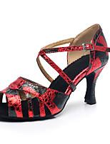Недорогие -Жен. Обувь для латины Синтетика На каблуках Кубинский каблук Персонализируемая Танцевальная обувь Черный / Красный
