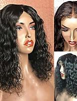 Недорогие -Натуральные волосы Лента спереди Парик Бразильские волосы Кудрявый Волнистый Черный Парик Стрижка боб Короткий Боб 130% Плотность волос с детскими волосами Природные волосы Для темнокожих женщин 100